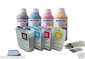 4-HP88-refillable-cartridge-K8600dn-L7480-L7500-L7550-L7555-L7580-4x10oz-s-ink