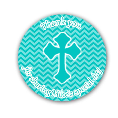 40 Stickers Christening Baptism Communion Chevron Thank You Label Favor Teal A1
