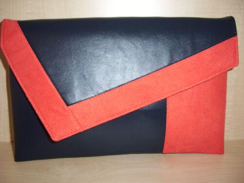 UK A lo largo de tamaño naranja quemado y Azul Marino Ante de Imitación de Cuero Y Forrado Clutch Bag