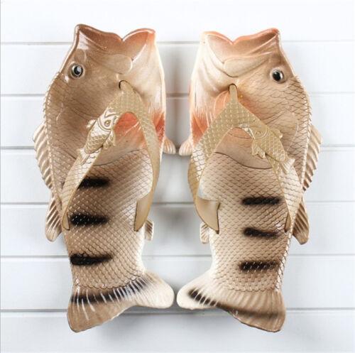 Femmes Hommes Pantoufles Plage Poisson Douche Sandales Bling Flops Flip drôle unique Chaussures