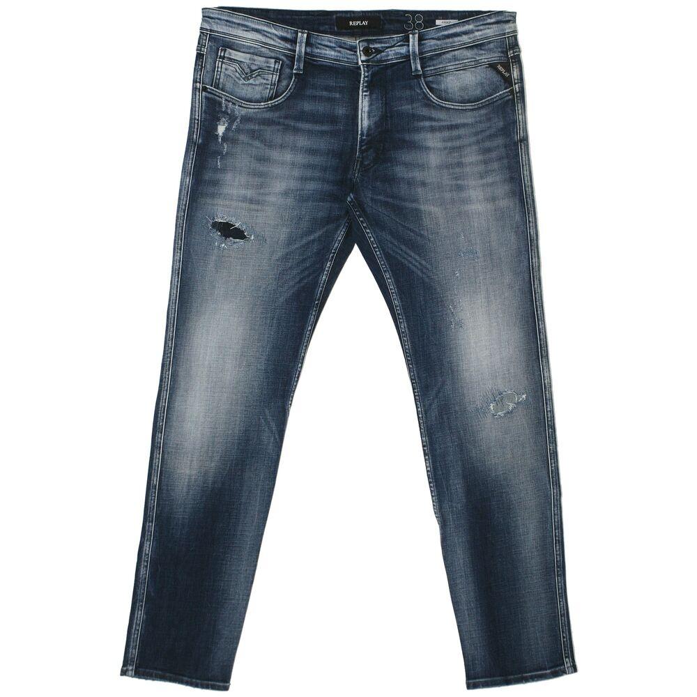 21810 Replay Homme Jeans Pantalon Anbass M914 Slim Stretch Blue Bleu