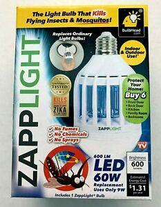 ZappLight 2 N 1 LED Lightbulb /& Bug Light Zapper 60W Zap Mosquitoes Flies Wasp M