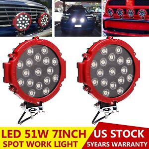 10X Red 7inch 51W Round Led Driving Light Offroad Truck SUV 4WD Bumper Fog Lamp