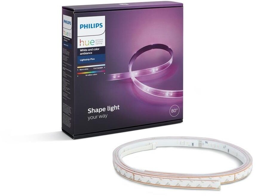 PHILIPS Hue Smart Wireless LED Lightstrip Plus Dimmable, White color Ambiance