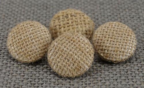 Dekorative Runde braune Jutegewebe abgedeckt Knöpfe Nähen Scrapbooking Handwerk