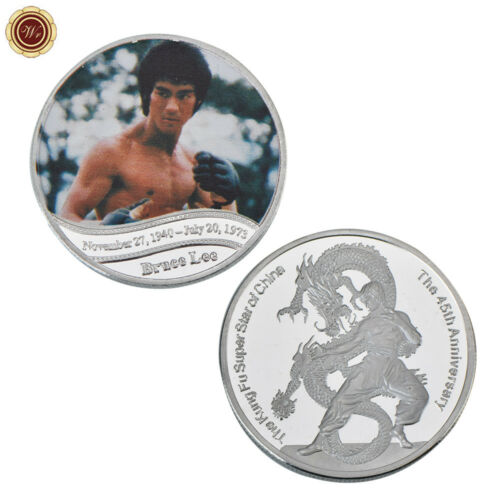 WR 2018 Kung Fu Master Bruce Lee Silver Clad Coin 45th Anniversary of His Death