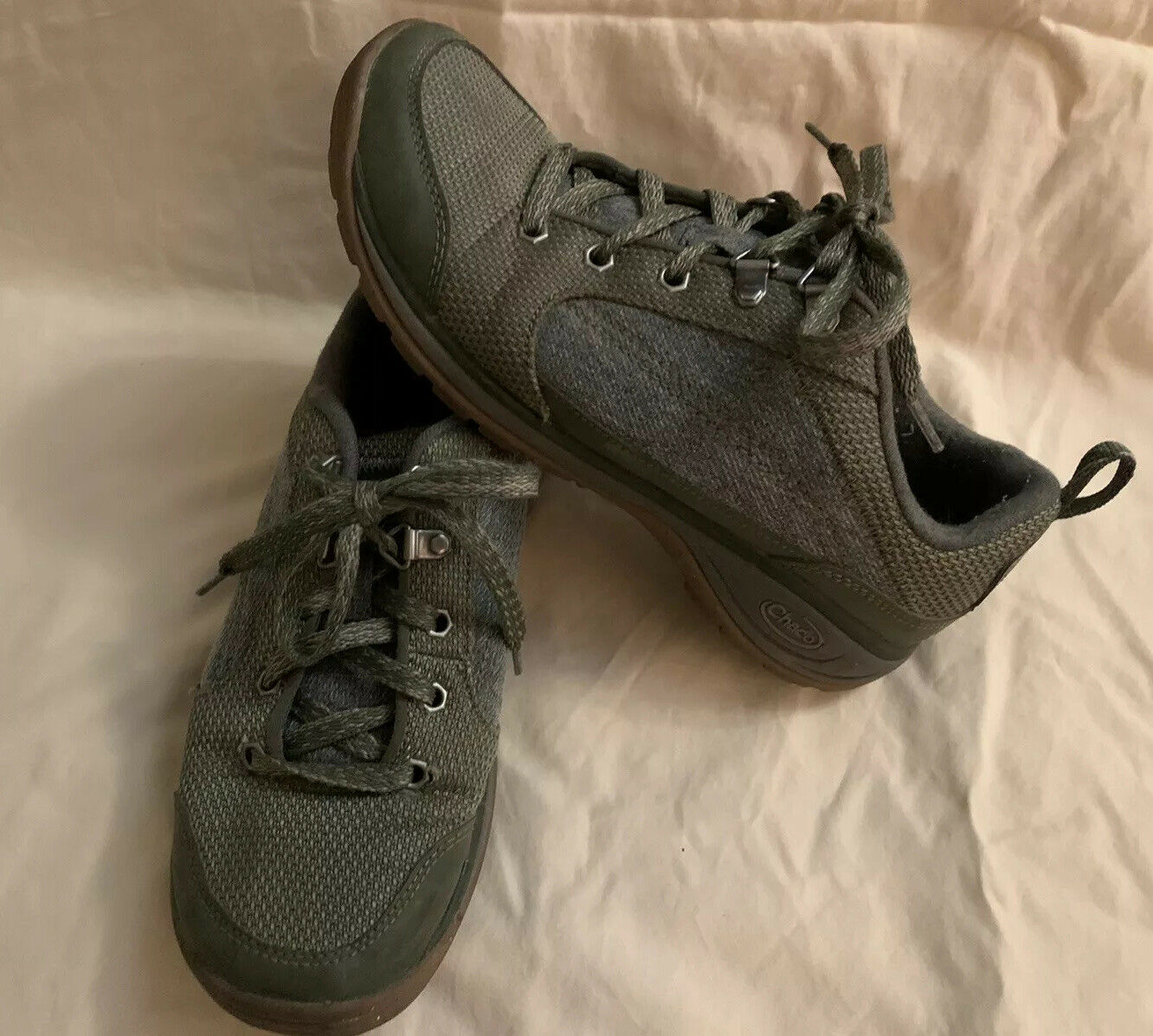 Women's Chaco Kanarra Green And Gray Lace Up Shoes Size 7.5