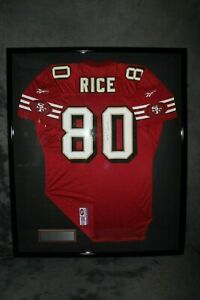 Framed-Autographed-Signed-Jerry-Rice-Red-With-Gold-Pro-Style-96-Authentic-Jersey
