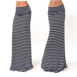 Women/'s Long Summer Boho Skirts Striped Low Waist Plus Size Maxi Skirts Female B