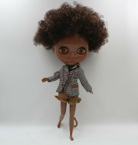 """12/"""" Takara Blythe From factory Nude Doll brown curly bang hair super black body"""