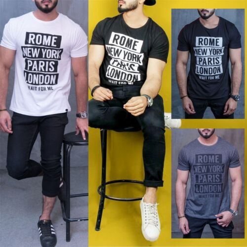 Mens Branded ROME NEWYORK PARIS LONDON Print Short Sleeve Crew Neck Tee T Shirt