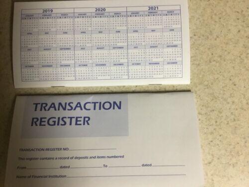 Transaction Bank Deposit Book Debit Checkbook Account Registers  2019-20-21