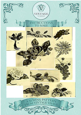 Vintage 1920 repro booklet-how to make fabric decorative flowers,fruits,corsages