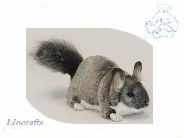 Standing Grey Chinchilla Plush Soft Toy by Hansa. Sold by Lincrafts. 6294