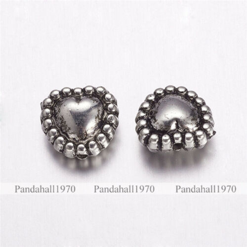50 Pcs Antique Silver Heart CCB Style Acrylic Beads Jewelry Making 10x10.5x5mm