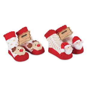 Mud Pie MH6 Christmas Baby Girl Santa Or Reindeer Plush Rattle Toe Socks 1542196