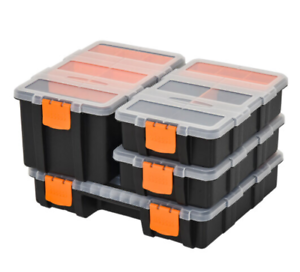 Storage Boxes With Dividers And Locking Lids, Stacking Set Of 4 Plastic DIY