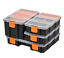 thumbnail 1 - Storage Boxes With Dividers And Locking Lids, Stacking Set Of 4 Plastic DIY