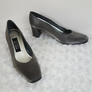 Stuart-Weitzman-Womens-Pumps-Silver-Pewter-Leather-Sole-Square-Toe-Heels-7-B