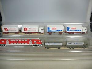 K821-0-5-3x-Wiking-H0-Lastzug-LKW-MAN-471-Tehalit-Lebkuchen-Packfisch-TOP-2xOVP