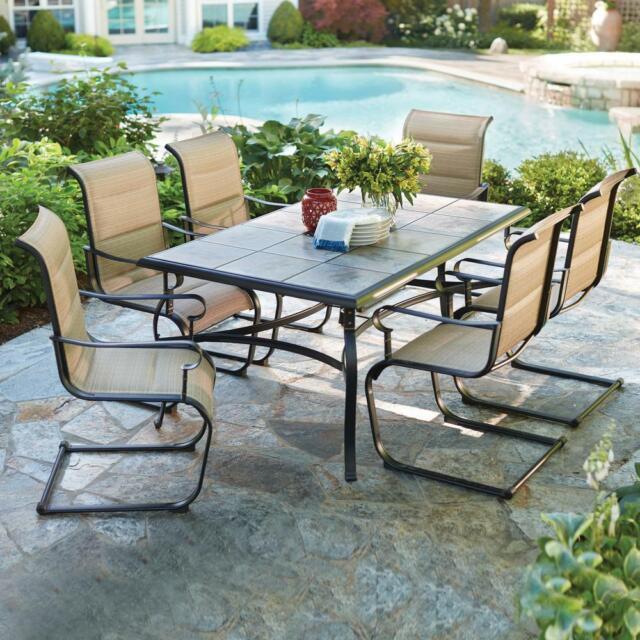 Hampton Bay Patio Dining Set Tile Tabletop Outdoor Bronze Steel Frame 7 Piece