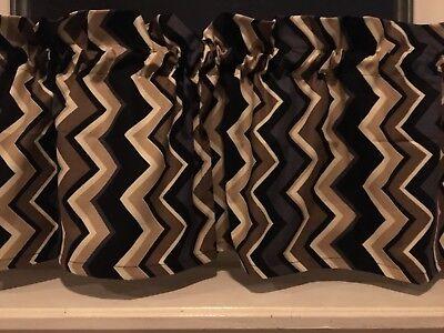 "NEW CONTEMPORARY Modern Zig Zag Black /& Tan Valance Curtain 42/""W x 13/""L"
