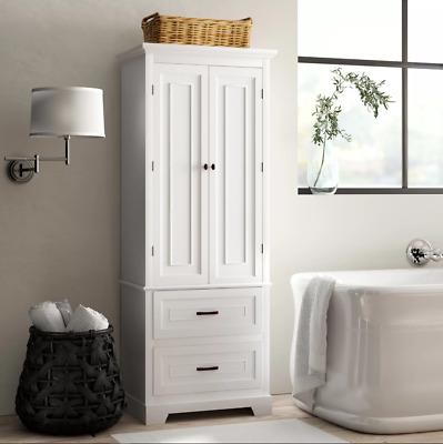 White Finish Linen Tower Bathroom Towel, Tall Bathroom Linen Cabinets