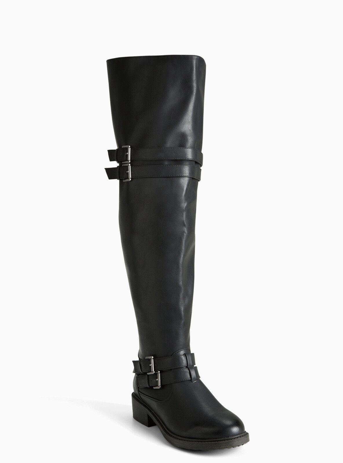 Torrid sobre la rodilla botas múltiples Negras correa de múltiples botas (Ancho Ancho & Ancho Pantorrilla) 7 W 5edf3f