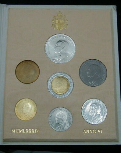 1984 Italy Vatican complete set coins UNC with silver in official red box