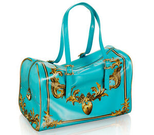 ANNA-DELLO-RUSSO-H-M-patent-BAROQUE-weekend-Travel-bag-AdR-Handbag-Turquoise-NEW