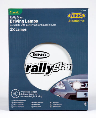 """Ring Rally Giant 12v 7/"""" inch 4x4 Round Driving Halogen Spot Lamps Lights+Covers"""