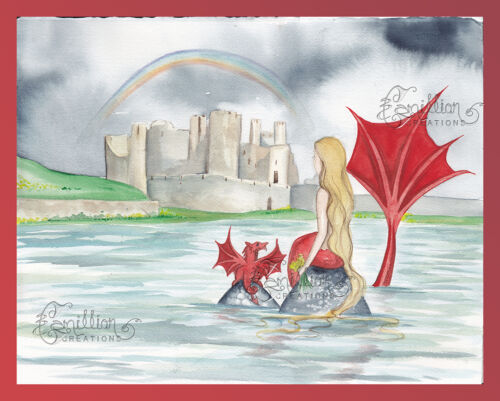 Welsh Mermaid Print from Original Painting By Camille Grimshaw Wales Red Dragon