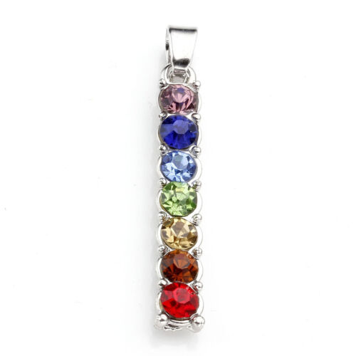 7 Chakra Crystal Gemstone Beads Charm Healing Angel Stick Pendant For Necklace