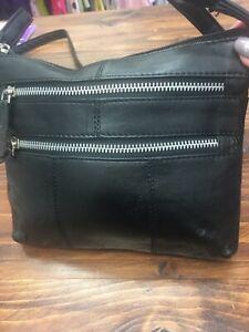 Brand-New-Black-Leather-Bag-Adjustable-Long-Strap-Zip-Fastening