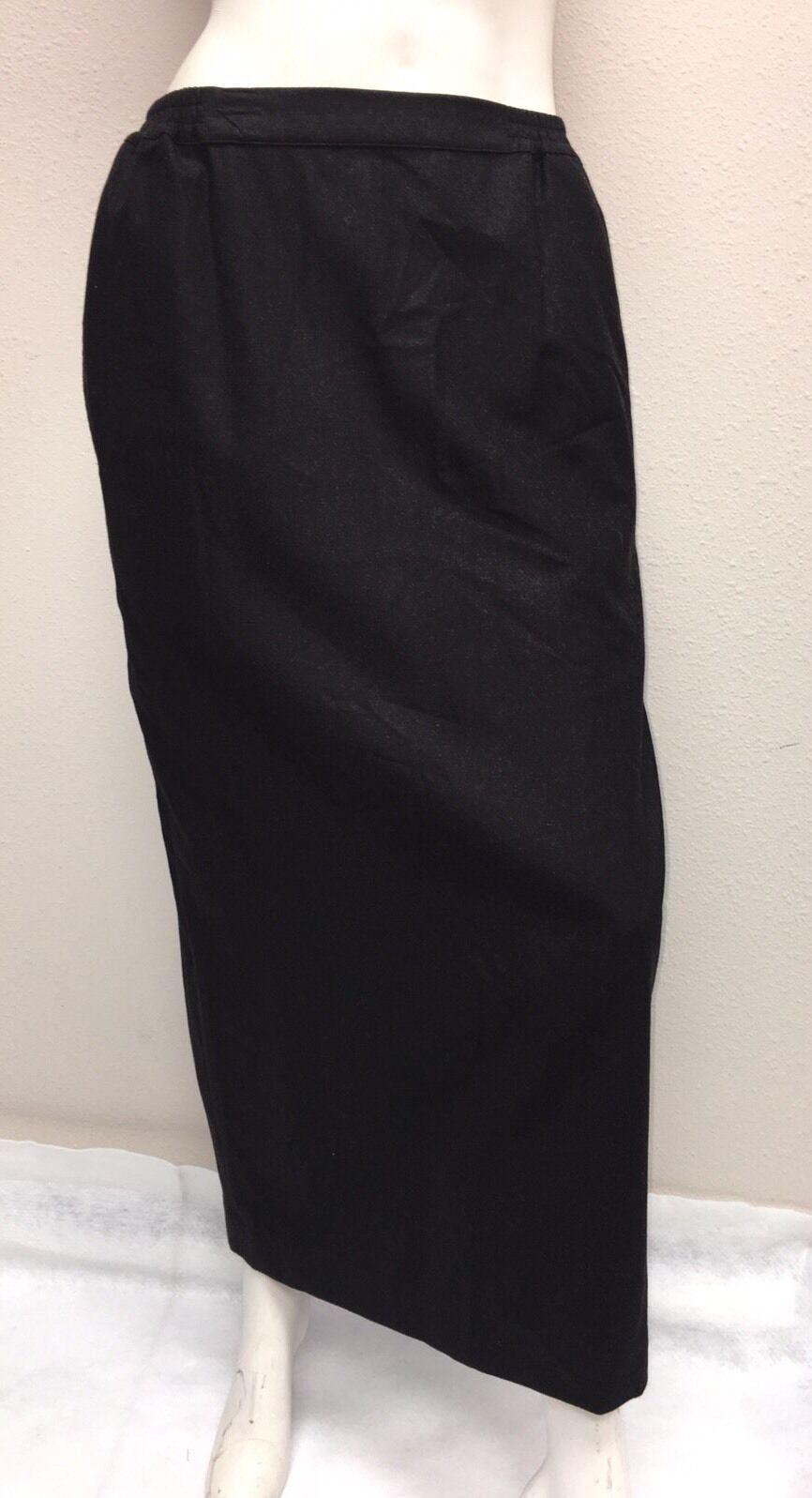 Eskandar size 1 99% Wool 1% Cashmere Brown Straight Pencil Skirt elastic waist
