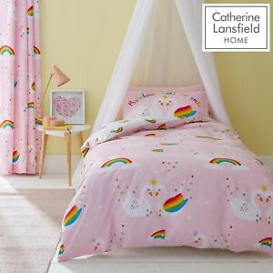 Catherine-Lansfield-Kids-Children-039-s-Rainbow-Swan-Duvet-Cover-Bedroom-Range-Pink