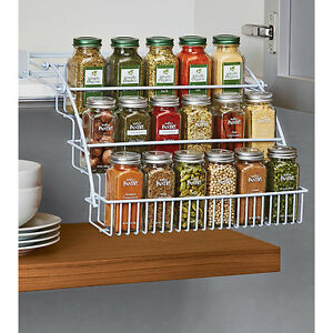 kitchen spice racks for cabinets rubbermaid pull spice rack organizer shelf cabinet 22037