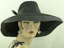 VINTAGE HAT 1940s LILLY DACHE ORIGINAL, BLACK FELT SQUARE WIDE  BRIM CASABLANCA