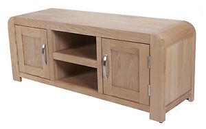 large oak tv unit stand 2 cabinets for sky dvd storage pre assembled furniture ebay. Black Bedroom Furniture Sets. Home Design Ideas