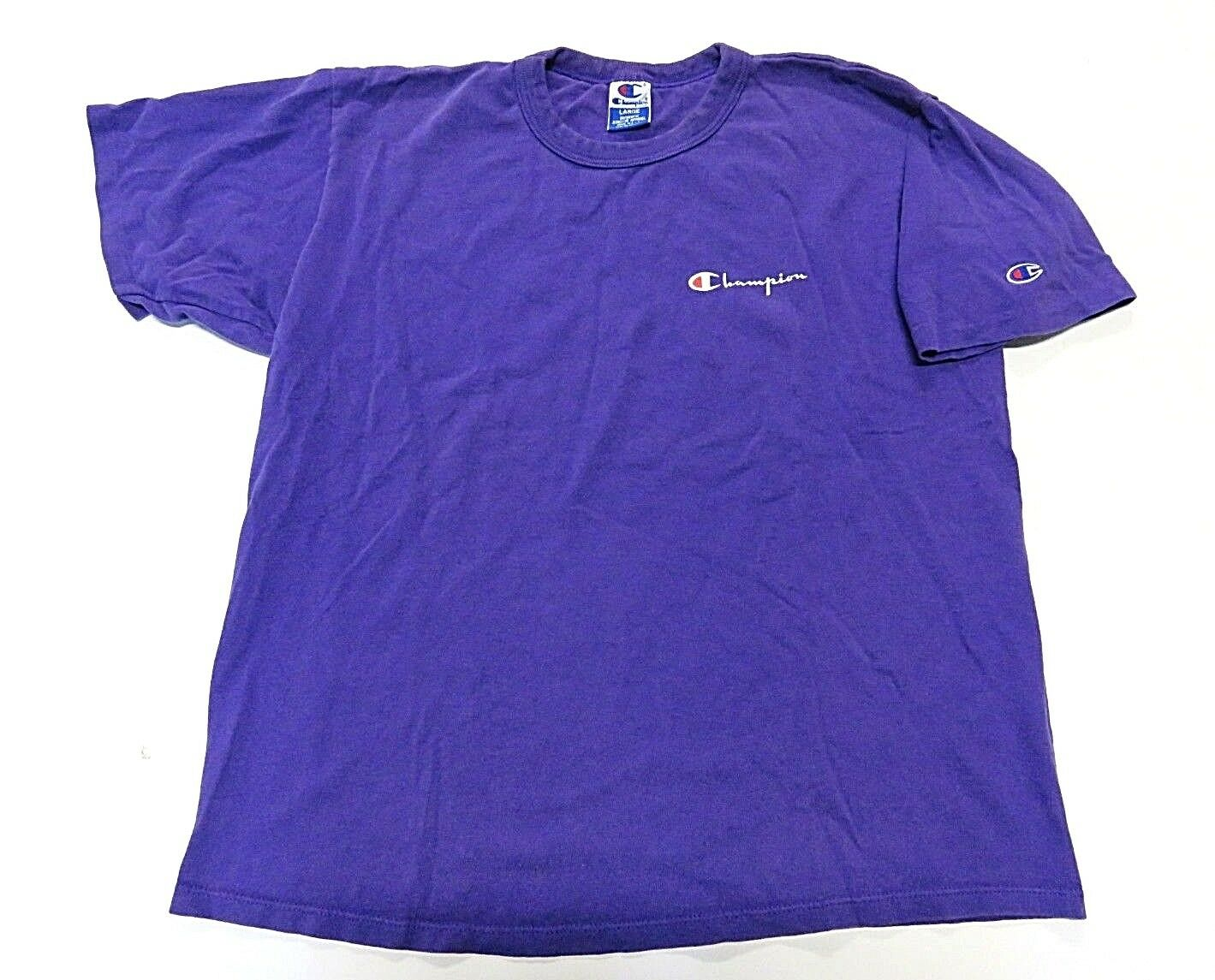 90s Purple Champion T-Shirt Graphic on Front with Patch on Sleeve Men's Sz L