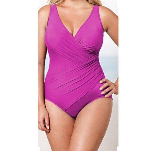 Women V Neck Swimming Costume Tummy Control Monokini One Piece Swimsuit Swimwear