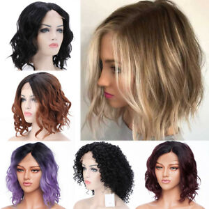 Bob-Ombre-Full-Wig-Short-Curly-Wavy-Synthetic-Hair-Lace-Front-Wigs-Black-Brown-Z