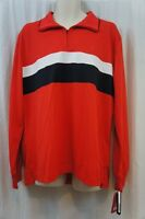 Izod Perform Mens Casual Rugby Shirt Sz Xl High Risk Red Pique Solid Long Sleeve