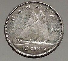 1959 CANADA Queen ELIZABETH II Silver 10 Cent SILVER Coin - BLUENOSE SHIP i56794