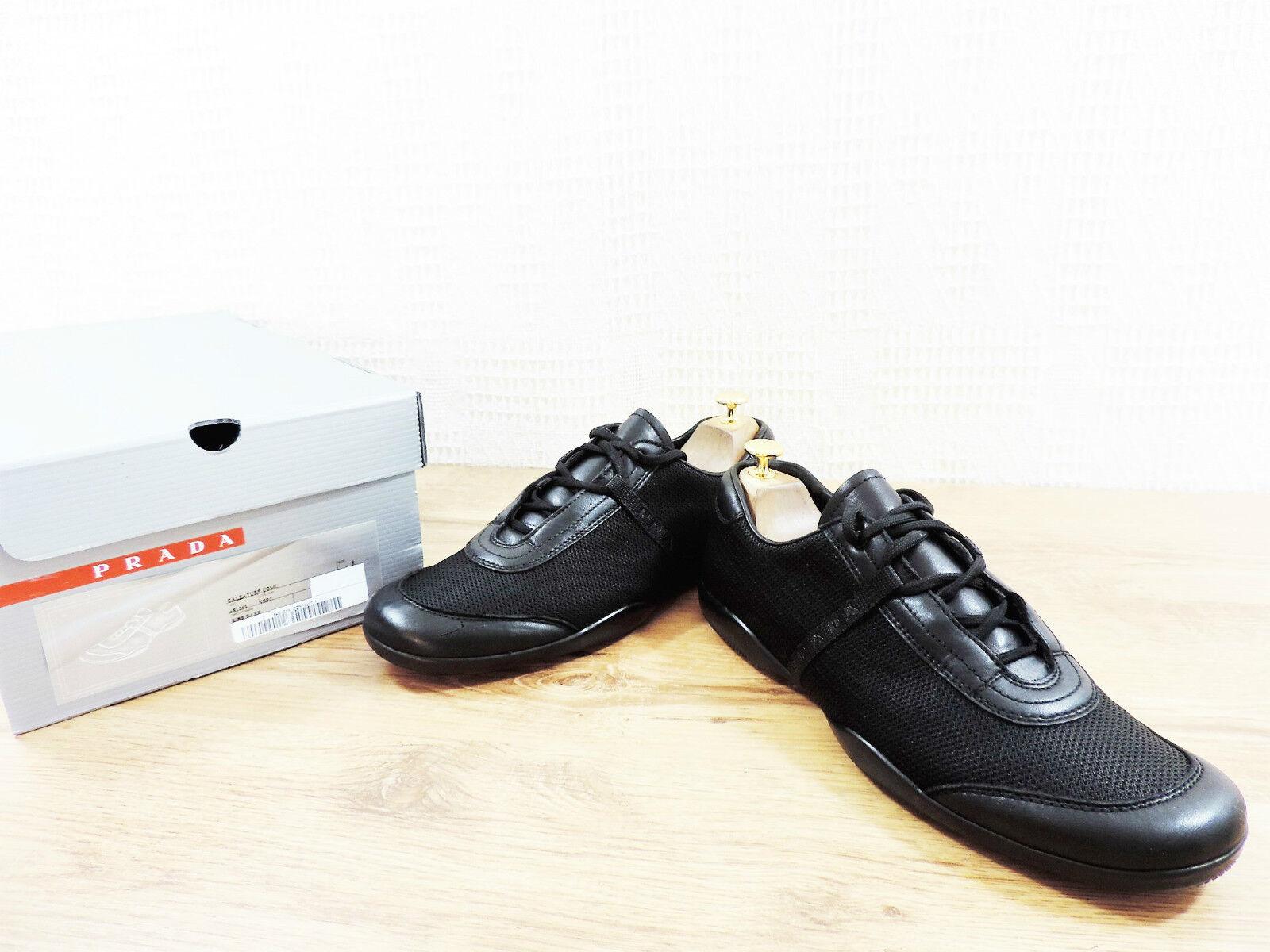 Prada Schwarz Handschuhweiches Eur 8.5 Leder Turnschuhe Sneakers Us 9.5 Eu 42.5