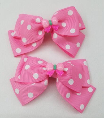 "1 Pair Polka Dot Hair Bow Hair Bow with Dots Clip Hair Bows. 4.5/"""