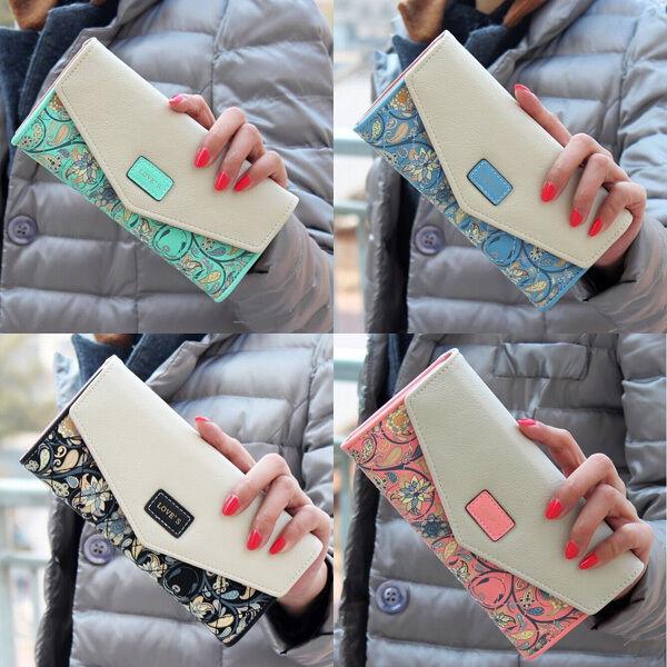 2015 New Women Leather Wallet Envelope Purse Card Holder Bag Long Handbag Gift