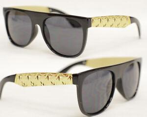 Flat Top Sonnenbrille Metall Brille schwarz gold weed marijuana hanf Retro 729 jstqGiR