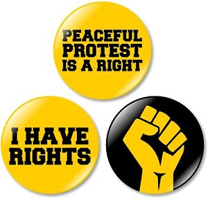 3 x Protest 32mm BUTTON PIN BADGES Refuse Justice Peace Government Resist Rights