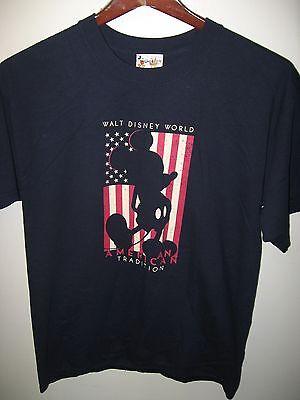 Walt Disney World Orlando Florida USA Mickey Mouse American Flag T Shirt Medium